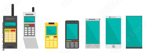 Fotomural  Cell phone evolution illustration. Flat vector.