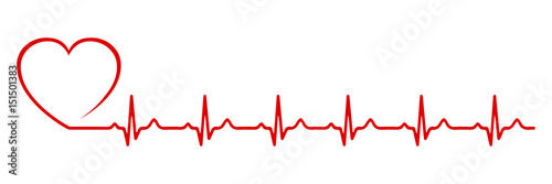 Obraz Heart pulse, one line - stock vector - fototapety do salonu