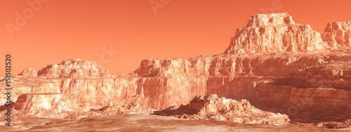 Papiers peints Corail Martian landscape, panorama of Mars, mountain landscape, 3D rendering