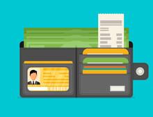 Wallet Open In Flat Style
