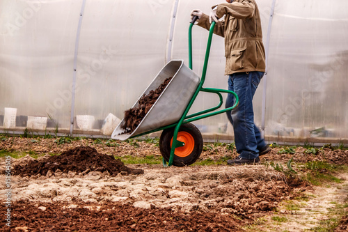 Vászonkép male farmer puts in the ground fertilizer manure