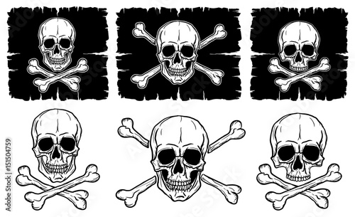 Платно Set of Skulls and Crossbones isolated over white background