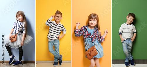 Fototapeta Cute stylish boy near color wall obraz