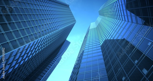 Skyscrappers in the sky. 3d Illustration