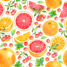 Seamless Watercolor Pattern With Orange, Grapefruit, Cherry And Mint