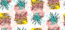Hand Drawn Vector Abstract Tropical Seamless Pattern With Pineapple In Pastel Colors And Freehand Textures Isolated On White Background.Summer Time Concept,wedding,birthday,save The Date,decoration
