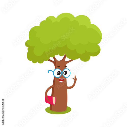 Funny Smart Comic Tree Character In Round Glasses Holding A Book Cartoon Vector Illustration Isolated On White Background Funny Tree Character Mascot With Smiling Human Face In Round Glasses Buy This Hand painted cartoon trees with deer nursery children | etsy. funny smart comic tree character in