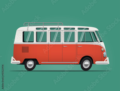 Fotografering  Vintage classic bus. Cartoon styled vector illustration.