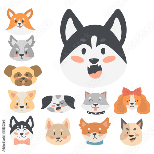 Wall Murals Cats Funny cartoon dog character heads bread cartoon puppy friendly adorable canine vector illustration.
