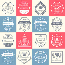 Set Of Vintage Baseball Logos And Badges.