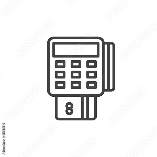 Pos terminal outline icon, line vector sign, linear style