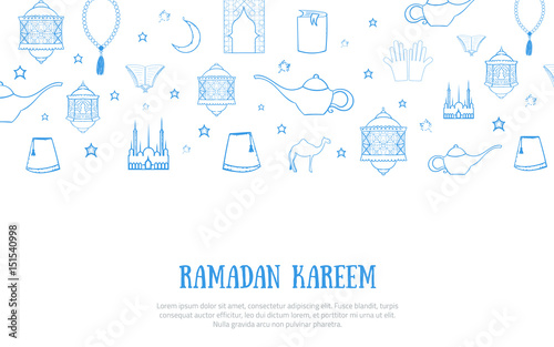 image relating to Ramadan Cards Printable named Printable blue minimalistic Ramadan Kareem greeting card