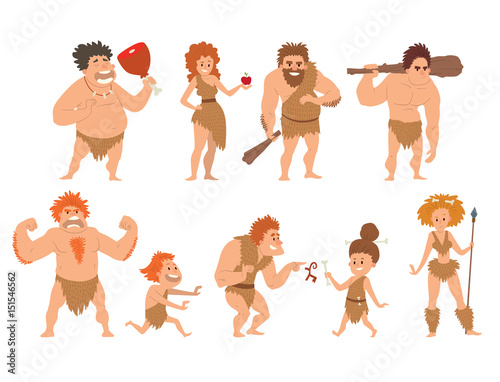 Photo  Caveman primitive stone age cartoon neanderthal people character evolution vector illustration