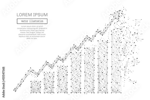 Fotomural Grey growth chart with polygon line on abstract background