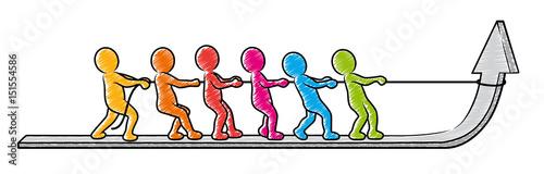 Foto  Wachstum in Teamwork: Farbige Strichmännchen ziehen zusammen einen Pfeil hoch /