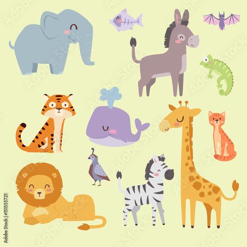 Cute zoo cartoon animals isolated funny wildlife learn cute language and tropical nature safari mammal jungle tall characters vector illustration. #151555721