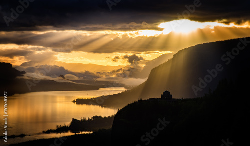 Door stickers Sunset Dramatic Sunrise Over Crown Point on the Columbia River Gorge