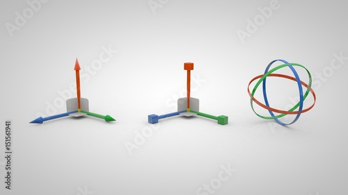 фотография 3D illustration of move, scale and rotation gizmo tools