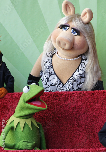 Muppets characters Miss Piggy and Kermit are pictured at