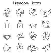 Freedom Icon Set In Thin Line Style