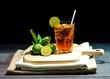 Lemon Iced Tea on Wood Table and Black Background