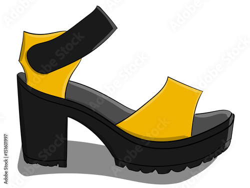 6861d02cc45a Sandals with yellow and gray buckles on a gray high platform stand on a white  background