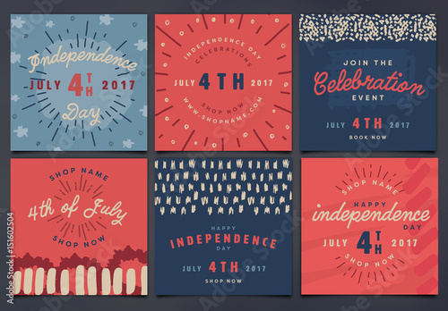 square july 4th social media posts buy this stock template and