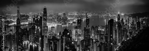 Black and white panorama of evening hong kong