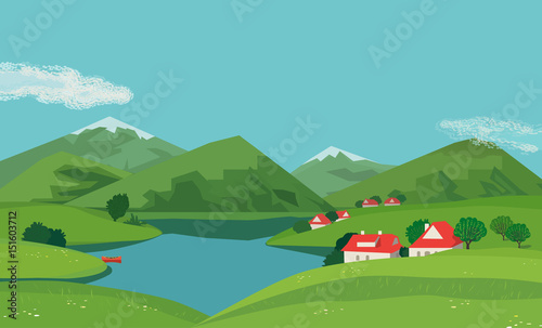 Spoed Foto op Canvas Turkoois Mountain green valley landscape. Summer season lake scenic view poster. Houses on river bank in Alps mountains. Freehand cartoon outdoors retro style. Vector countryside scene banner background