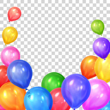 Border Of Realistic Colorful Helium Balloons Isolated On Transparent Background. Party Decoration Frame For Birthday, Anniversary, Celebration. Vector Illustration.