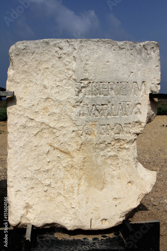 Obraz na plátně Stone monument with mention of Pontius Pilate near Herod's palace in Caesarea Ma