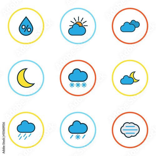 Weather Colorful Outline Icons Set  Collection Of Hazy