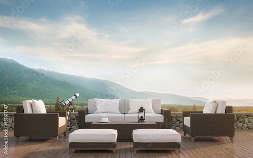Photo  Outdoor living with mountain view 3d rendering image
