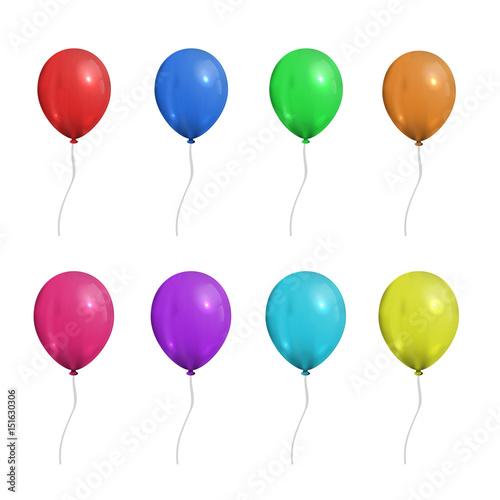 Wektorowy ustawiający realistyczni odosobneni balony dla świętowania i dekoraci na białym tle.
