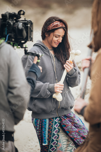 Photo  Behind the scene. Actress in front of the camera
