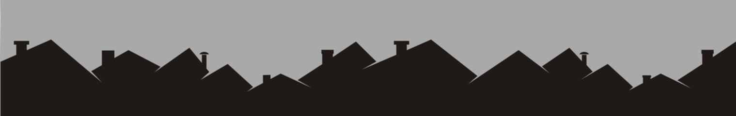 Panel Szklany Roofs and chimneys, cityscape, black silhouette, vector icon.