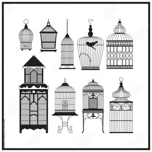 Set of ornamental vintage birdcage Canvas Print