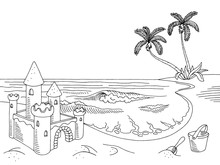Sea Coast Graphic Sand Castle Black White Landscape Sketch Illustration Vector