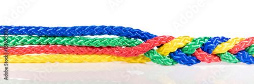 Panorama, bunte Seile verbinden sich, Kooperation und Verknüpfung