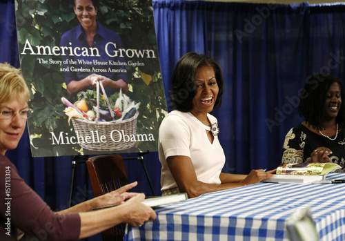 Us First Lady Michelle Obama Attends A Book Signing Of Her First