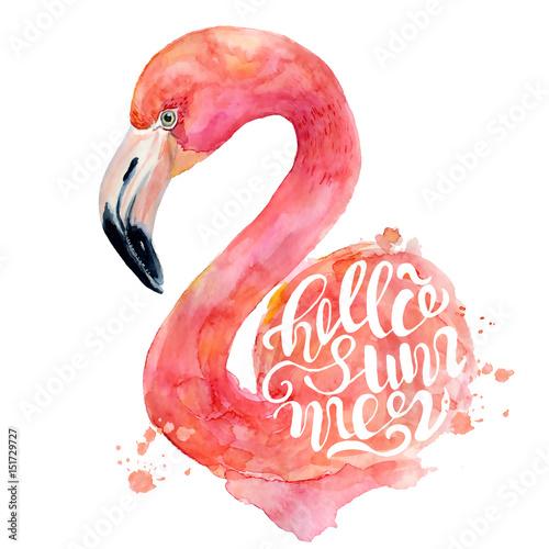 akwarela-rozowego-flaminga-recznie-malowane-ilustracja