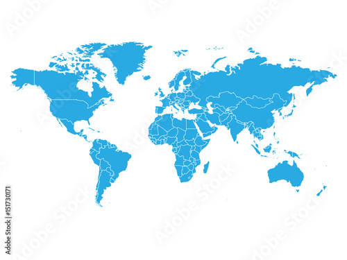 World Map In Blue Color On White Background High Detail Blank