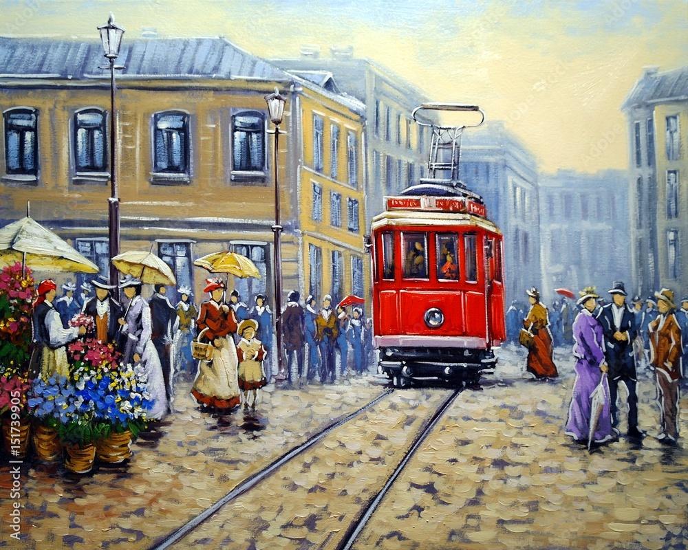 Tramwaj w starym mieście, krajobraz obrazów olejnych