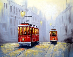 Fototapeta Industrialny Tram in old city, oil paintings landscape