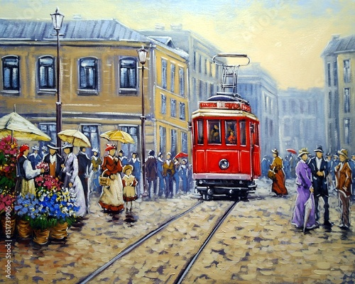 Leinwand Poster Tram in old city, oil paintings landscape
