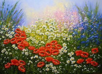 Fototapeta Łąka Flowers, poppies,oil paintings landscape