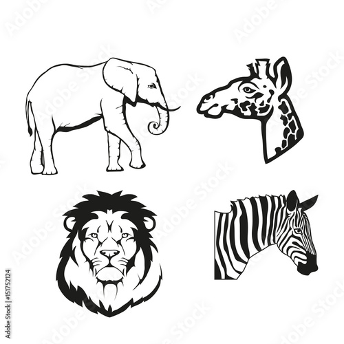 Set Of Four Black Logo Silhouettes Of Elephant And Vector Image Of