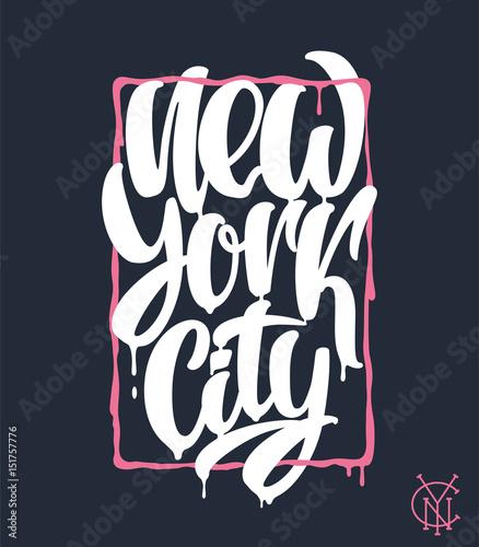 Nowy Jork, projekt napis. Ręcznie napisane zdanie