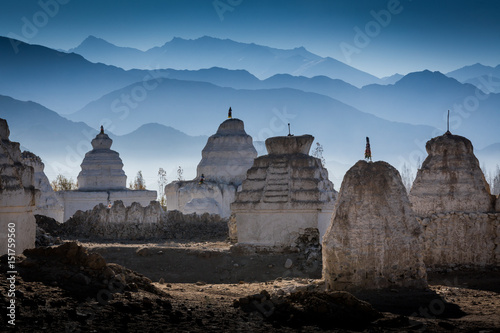Buddhist stupas at Shey village in the Indian Himalaya Fototapeta