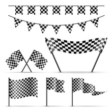 Set Of Sport Checkered Flags O...